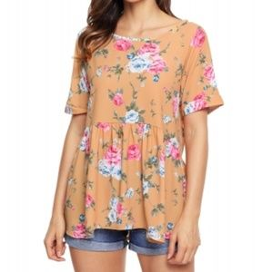Yellow Lace-up Back Floral Ruffle Top